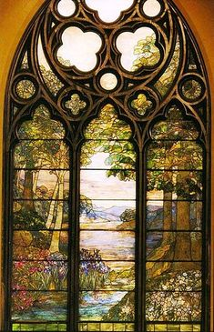 Louis Comfort Tiffany Pastoral Window, Second Presbyterian Church, Chicago, 1900 Stained Glass Church, Stained Glass Art, Stained Glass Windows, Leaded Glass, Beveled Glass, Mosaic Glass, Pebble Mosaic, Tiffany Stained Glass, Tiffany Glass