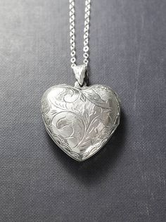 Large Sterling Silver Heart Locket Necklace Scroll Engraved