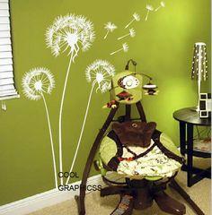 Diente de León en el viento - tatuajes de pared de vinilo pared pegatina, niños dormitorio decoración de la pared, arte decoración casera del colgante de pared blanco marrón