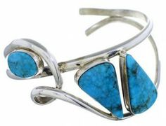 Genuine Sterling Silver Navajo Turquoise Cuff Bracelet EX23155