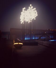 Waterfront light sculpture.