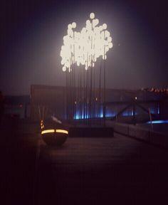 Waterfront light sculpture.