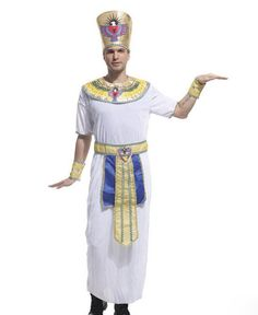 White Cool Chemical Fibre Halloween Prince of Egypt Cosplay Costume Adult Male Stage Clothing for Masquerade Party