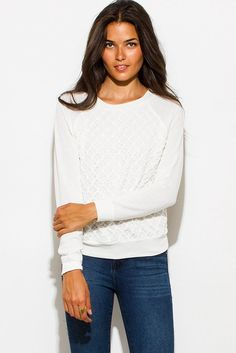IVORY WHITE TEXTURED EMBELLISHED CROCHET KNIT ROUND NECK LONG SLEEVE SWEATER TOP