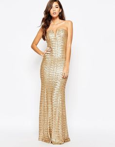 TFNC Showstopper Sequin Maxi Evening Party Bodycon Dress Gold UK 14/EU 42/US 10