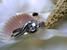 Sterling Silver Diamond Promise Ring .10 carat Size 6 on Etsy, $65.00