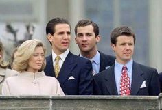 From left: Princess Marie-Chantal and Prince Pavlos of Greece, (then) Prince Felipe of Spain, Crown Prince Frederik of Denmark.... all cousins.
