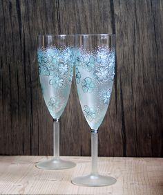 Mint Fl Design Hand Painted Wedding Champagne Flutes Set Of 2 Smoked Opal Swarovski Crystals