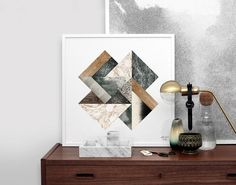 """Kristina Krogh studied graphic design before setting up her own studio in Copenhagen in 2012, where she spends part of her time on freelance design projects and the rest on her extensive line of limited-edition art prints, notebooks, and notecards, pictured in this post. Her layered geometric compositions feature a mix of contrasting and complementary surface textures taken from everyday materials like marble, ply, wood, cork, and paper. """"My inspiration comes from the things that surround…"""