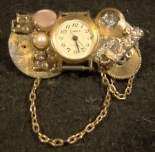 Large Vintage Watch Works & Cats Steampunk Pin Brooch One Of A Kind OOAK