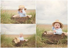 outdoor beach baby session with vintage box / crate