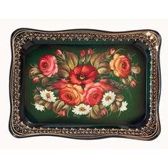 Zhostovo Style Roses and Birds - Russian Metal Trays - Decorative Tray Metal Trays, Roses, Birds, Hand Painted, Handmade, Crafts, Home Decor, Products, Style
