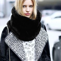 Stay warm and cozy all day long in this #PulloverScarf. It's complete with fluffy-feel finish and circle design, that's the right amount of fashion. Come and have one!