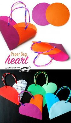 Make some cute heart bags to put Valentin'es day treats in - DIY Paper bag - heart Valentine's Day Craft Valentine Crafts For Kids, Valentines Day Hearts, Valentines Diy, Kids Crafts, Valentine Decorations, Diy Paper Bag, Paper Bag Crafts, Paper Crafting, Paper Bags