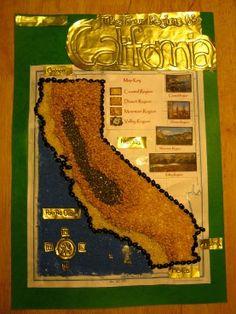 California Regions Map- alternate to salt dough map 4th Grade Social Studies, Social Studies Activities, Teaching Social Studies, Teaching Activities, Teaching Ideas, Teaching Resources, California Regions, California Map, California History