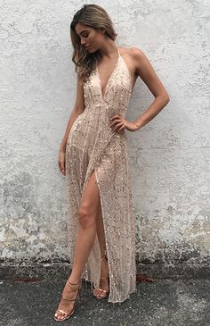 2632d859e HARDING SEQUIN MAXI - ROSE GOLD Gold Formal Dress, Gold Prom Dresses,  Yellow Ball