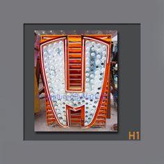 Letter Art Letter H Alphabet Art Vintage Vegas by CapturedByMark, $21.00
