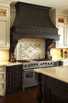 best kitchen hood countertop stone options 470 range hoods images in 2019 dining this dark wood looks beautiful as a focal point the custom tiling underneath adds sophisticated detail to bring it all together