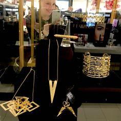Trunk show at @hallskc . #janesko #jewelry #kc #madeintheusa #necklace #cuff #earrings #modern
