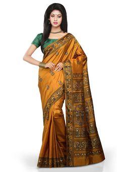 Buy Mustard Pure Silk Baluchari Handloom Saree with Blouse online, work: Hand Woven, color: Mustard, usage: Wedding, category: Sarees, fabric: Silk, price: $212.00, item code: SHC70, gender: women, brand: Utsav