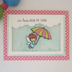 Lawn Fawn Fairy Friends; encouragement; rain or shine; umbrella; stitched rectangle frame die
