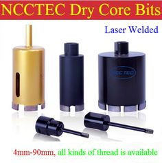 0.16'' LASER WELDED NCCTEC diamond DRY core drill bits   4mm DRY drilling tools   length130mm FREE shipping all kinds of thread