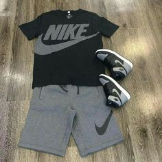 T shirt and shorts swag outfits, dope outfits, casual outfits, fashion outfits, Dope Outfits For Guys, Swag Outfits Men, Tomboy Outfits, Tomboy Fashion, Casual Outfits, Men Casual, Mens Fashion, Nike Outfits For Men, Queer Fashion