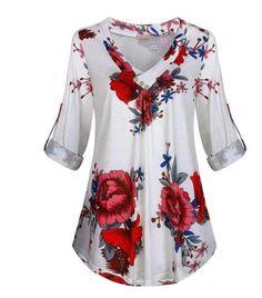 Compre Plus Size Blusas, Venda, Loja Online de Plus Size Blusas de Moda Feminina - Floryday Floral Print Shirt, Floral Blouse, Tunic Shirt, Blouses For Women, Women Tunic, Plus Size Blouses, Latest Fashion For Women, Fashion Online, Half Sleeves