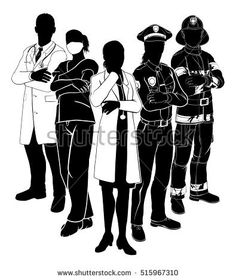 Silhouette emergency rescue services worker team with male and female police, fireman and doctors Human Figure Sketches, Figure Sketching, Nurses Week Quotes, Doctor Drawing, Gas Mask Art, Medical Wallpaper, Warrior Paint, Drawing Competition, Nurse Art