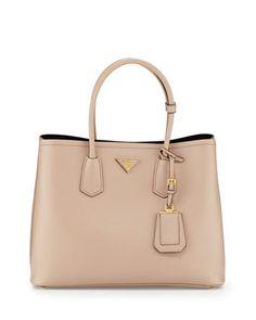 Saffiano Cuir Double Bag, Tan (Cammeo) by Prada at Neiman Marcus.