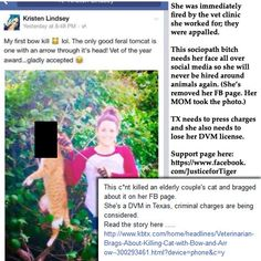 April 17, 2015: SHARE THIS and make sure this sociopath never gets another job around animals. Make sure to use her name, so any future employers internet search will bring this up! #KristenLindsey Kristen Lindsey sociopathic violent veterinarian