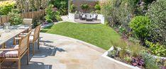 A south-facing contemporary family garden by Kate Eyre Garden Design - Modern Patio Balcony Ideas, Backyard Office, Backyard Patio, Backyard Landscaping, Small Backyard Gardens, Back Gardens, Outdoor Gardens, Modern Gardens, Contemporary Garden Design