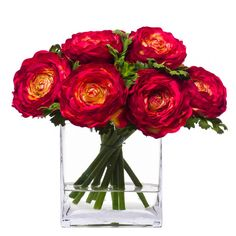 Silk Ranunculus in Vase – Red