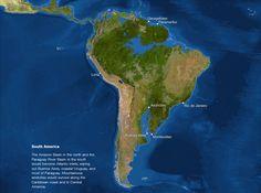 Map of sea level rise: South America