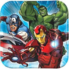 Marvel Avengers 7' Square Plate, 8 Count, Party Supplies Novelty -- Click on the image for additional details.(It is Amazon affiliate link) #likes