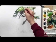 How to paint the pine tree by Um KyoungHo - YouTube