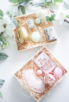 Geschenkverpackung - Geschenk Hochzeit - How To Create A Spring Gift Box with eos Custom Gift Boxes, Customized Gifts, Custom Gifts, Ostern Party, Holiday Gifts, Christmas Gifts, Christmas Ideas, Diy Cadeau, Chocolate Gift Boxes