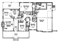 First Floor Plan of Country   Southern   House Plan 66105