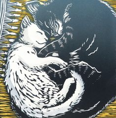 Two's Company linocut - Louise Scammell