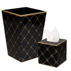 Found it at Wayfair - Gold Rope Waste Basket and Tissue Box Set