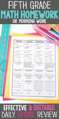 Fifth Grade math homework or morning work that gives a each day evaluation of ALL fifth grade math requirements. This fifth Grade spiral math evaluation useful resource is absolutely EDITABLE and comes with reply keys and a pacing information. Teaching 5th Grade, 5th Grade Teachers, Fifth Grade Math, 5th Grade Classroom, Teaching Math, Teaching Aids, Classroom Ideas, Ec 3, Spiral Math