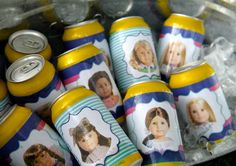 American Girl Doll wraps for drinks--i know this is for an american girl party...but i kinda want to do this at my house