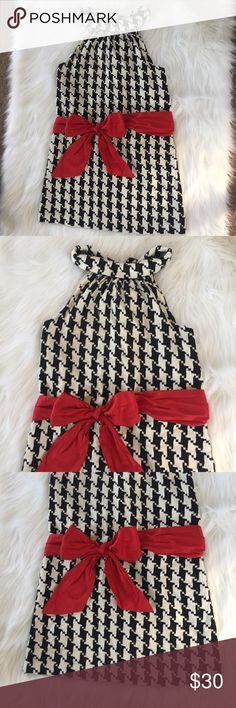 Houndstooth Black White Red Dress Laroque Houndstooth dress with red sash. This dress is hand made and is a fabric that easily picks. All picks shown. ❤️ LaRoque Dresses