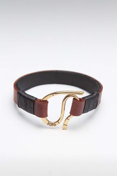 KENTON MICHAEL HAND CRAFTED TWO TONE LEATHER WITH HANDMADE BRASS CLASP
