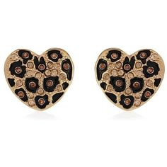 River Island Gold Tone Leopard Heart Studs ($8.06) found on Polyvore