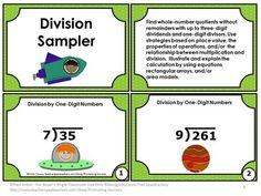Division Games: FREE Dividing by One-Digit Number Task Cards: Here is a set of six printable division games math task cards for Grade 4 and 5. Students will practice division with a one-digit divisor and 2-3 digit dividends. https://www.teacherspayteachers.com/Product/Division-Games-FREE-Download-1-Digit-Divisors-4th-5th-Grade-Math-Task-Cards-1415597