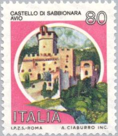 Sello: Castles- Sabbionara Avio (Italia) (Castles) Mi:IT 1571 Php, Mail Art, Stamp Collecting, Postage Stamps, Childhood Memories, Retro Vintage, My Arts, Italy, Ephemera