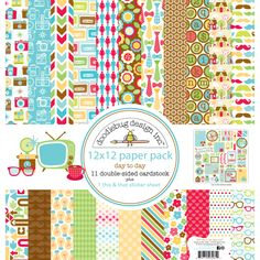 Paper-based projects become more beautiful when they are decorated with the Doodlebug Day to Day Collection Paper Pack. With 11 sheets of double-sided cardstock in different designs and a coordinating