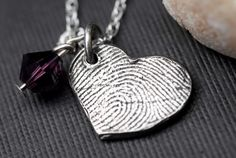 Thumb print heart necklace. I want to make something like this for my mom!