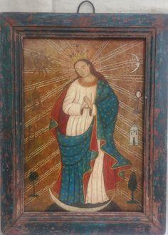 """Retablo """"Inmaculada Concepción"""" colonial venezolano siglo XIX, oleo/tabla, med: 39X29,5 cms."""